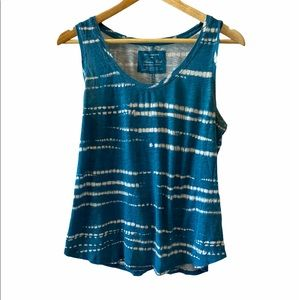 DENVER HAYES Tie Dye Teal Cotton Relaxed Fit Tank